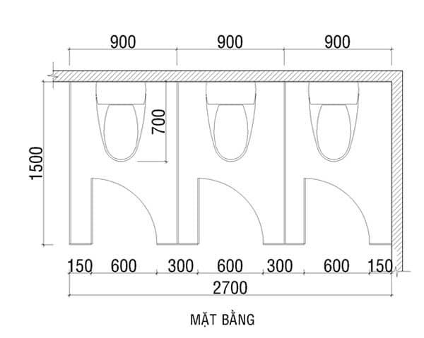 Kích thước vách ngăn vệ sinh
